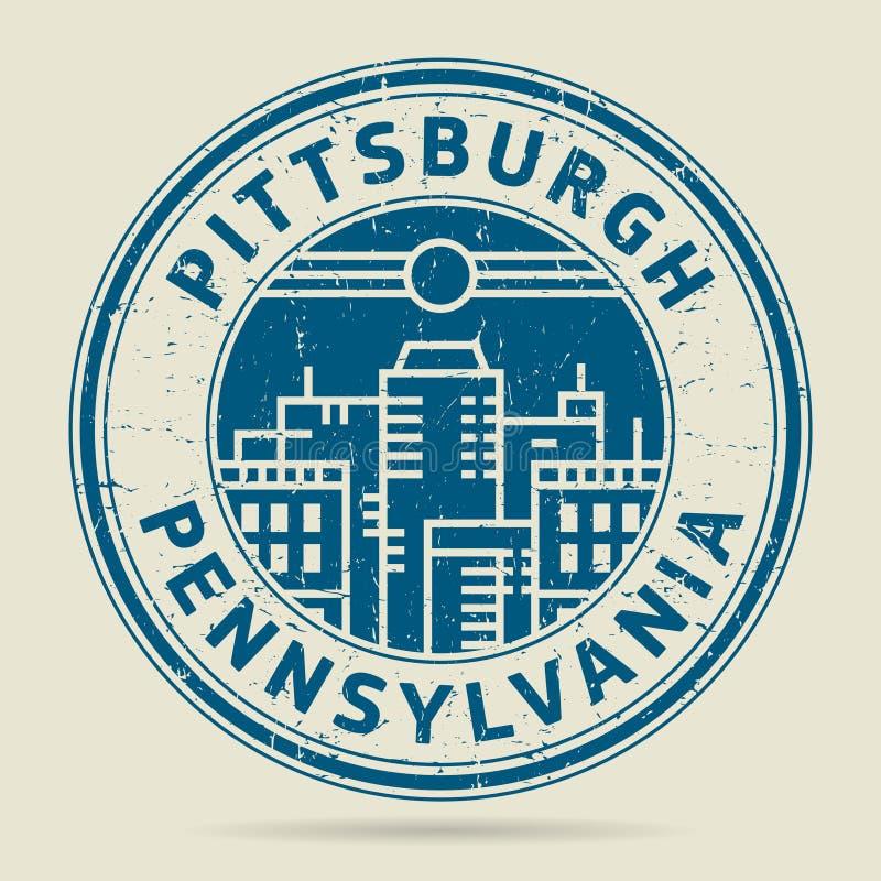 Carimbo de borracha ou etiqueta do Grunge com texto Pittsburgh, Pensilvânia ilustração stock