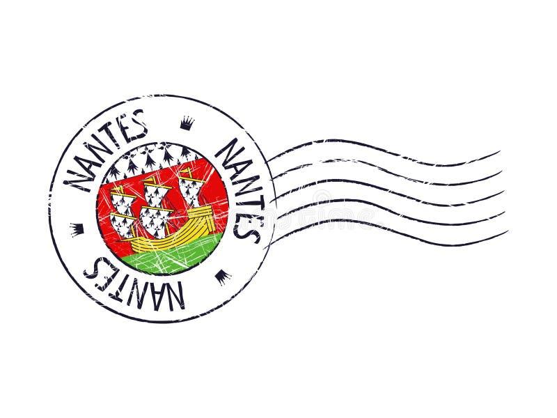 Carimbo de borracha postal do grunge da cidade de Nantes ilustração royalty free
