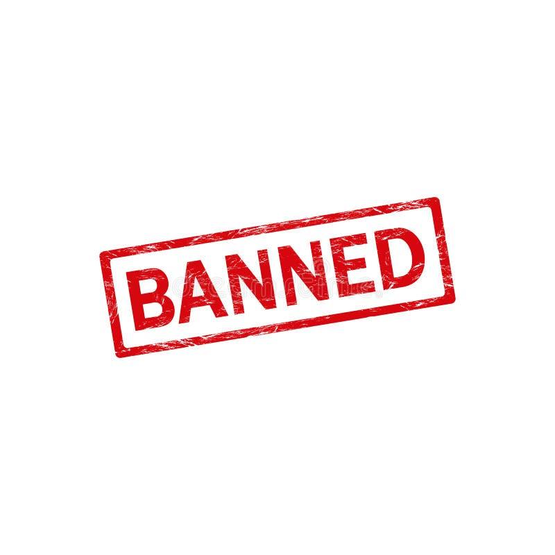 Carimbo de borracha proibido do grunge no quadro vermelho do retângulo ilustração do vetor