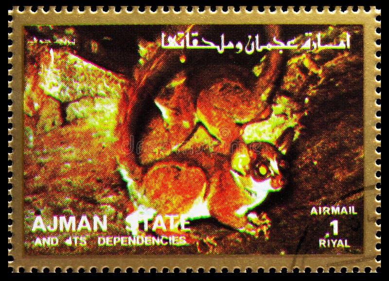 Carimbo impresso em Ajman (Emirados Árabes Unidos) mostra Night Mammal, Mammals, large format serie, por volta de 1973 fotos de stock