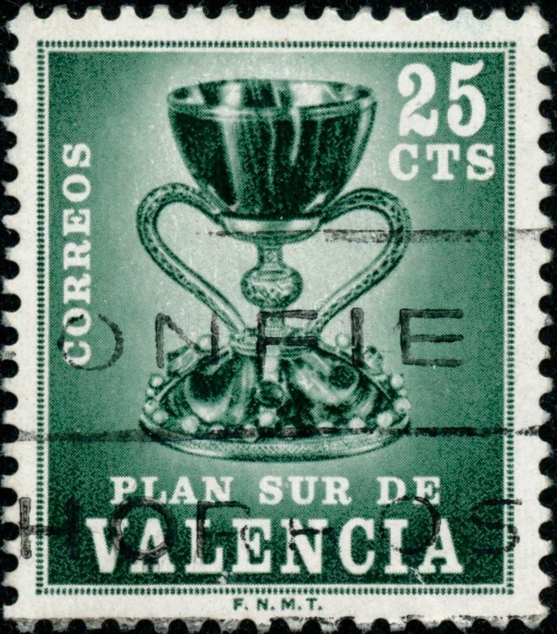 Carimbo impresso em Espanha em 1968 mostra Santo Graal imagens de stock