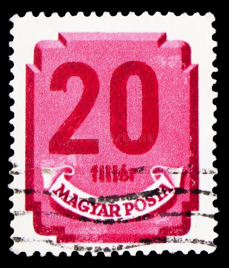 Carimbo impresso na Hungria mostra Postage due, 20 fillér húngaro, série Números, cerca de 1946 fotos de stock