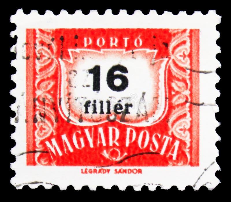 Carimbo impresso na Hungria mostra Postage due, serie, 16 livros de preenchimento húngaro, cerca de 1965 imagens de stock royalty free