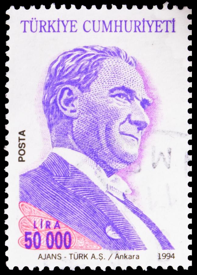 Carimbo impresso na Turquia mostra Ataturk, Definitive Postage Stamps, 1994, Ataturk series, cerca de 1994 imagens de stock