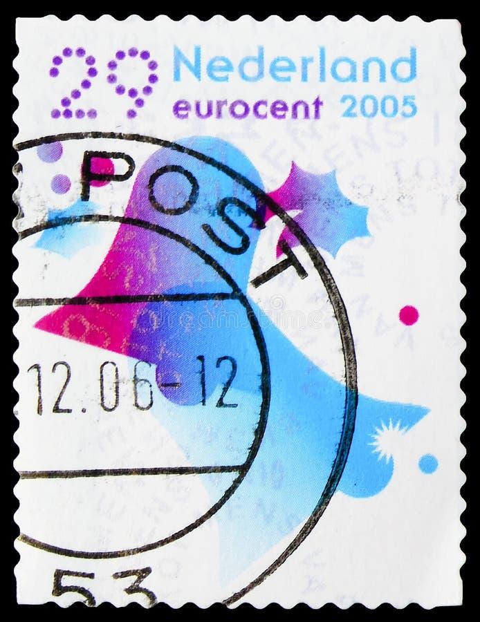 Carimbo impresso nos Países Baixos mostra Clocks, dezembro Stamps serie, cerca de 2005 fotos de stock royalty free