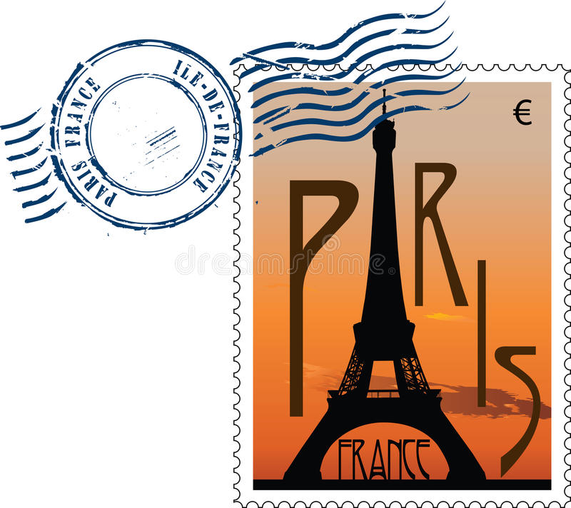 Carimbo postal de france ilustração do vetor
