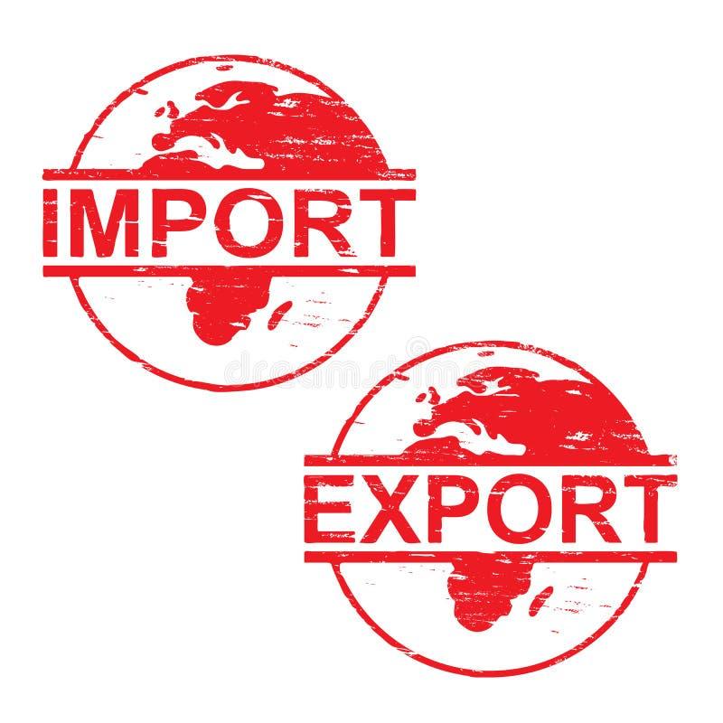 Carimbos de borracha da exportação da importação ilustração stock