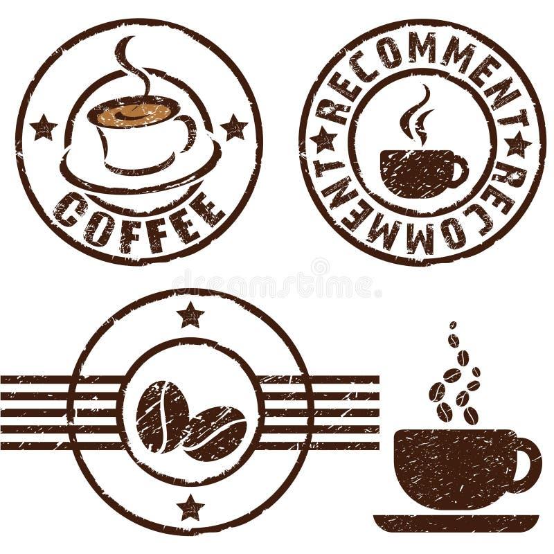 Carimbos de borracha do café ilustração do vetor