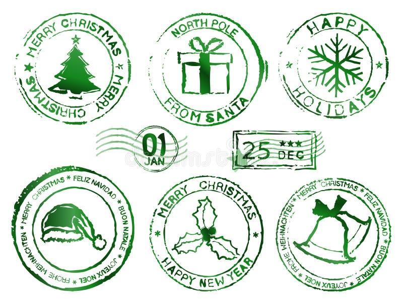 Carimbos de borracha do Natal ilustração royalty free