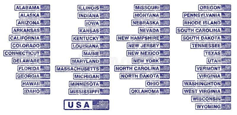 Carimbos de borracha dos estados dos EUA ilustração do vetor