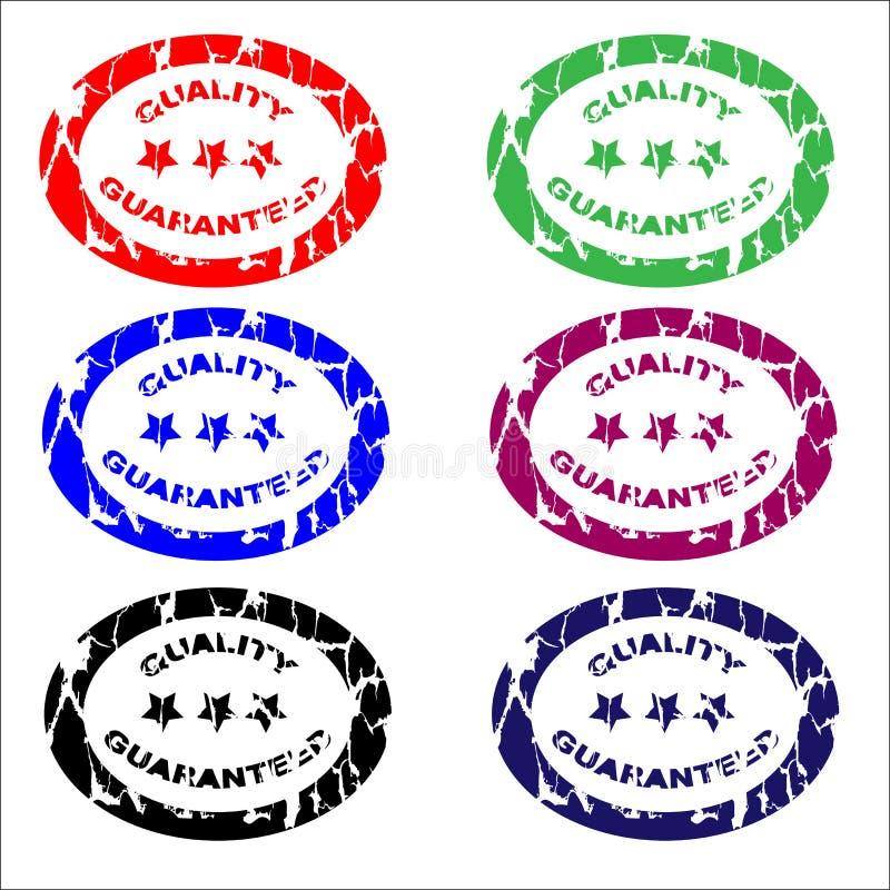 Carimbos de borracha/qualidade garantida ilustração do vetor