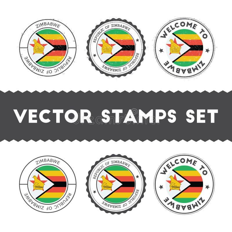 Carimbos de borracha zimbabuenses da bandeira ajustados ilustração stock