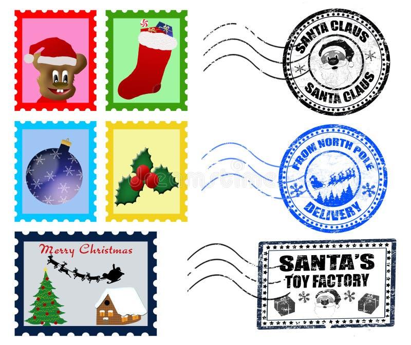Carimbos postais e selos do Natal ilustração stock