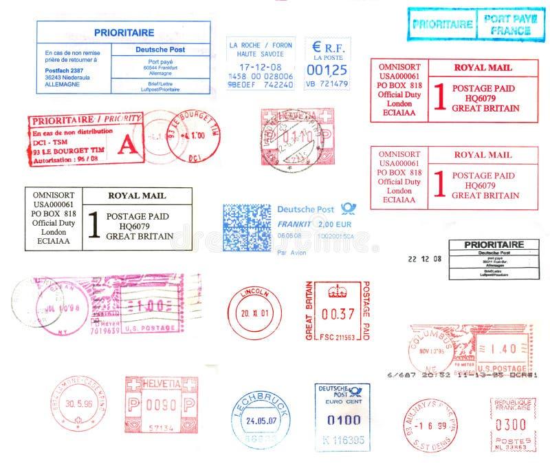 Carimbos postais internacionais ilustração stock