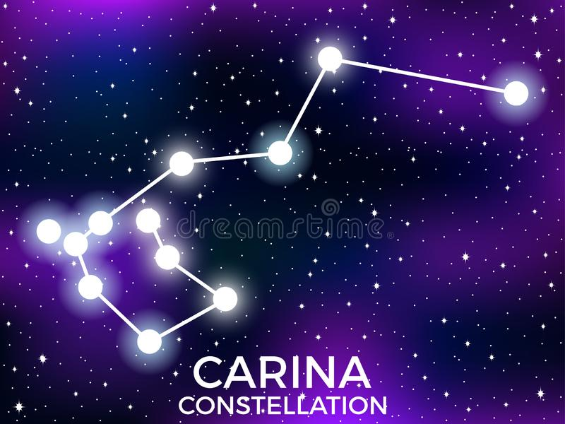 Carina constellation. Starry night sky. Cluster of stars and galaxies. Deep space. Vector. Illustration stock illustration