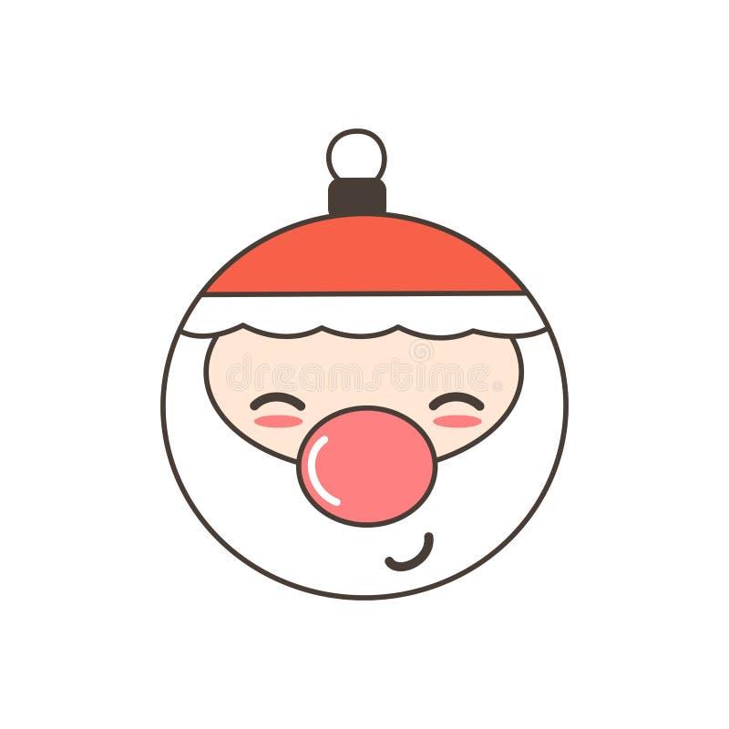 Carina vignetta vettoriale di Natale il santa bauble isolato su fondo bianco illustrazione vettoriale
