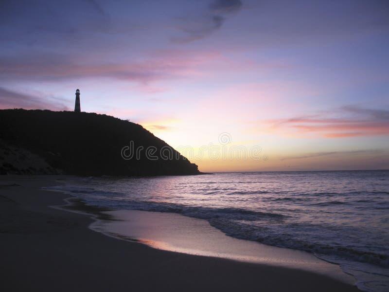 Carinbean lighthose przy zmierzchu Margarita wyspą Wenezuela i morze zdjęcia stock