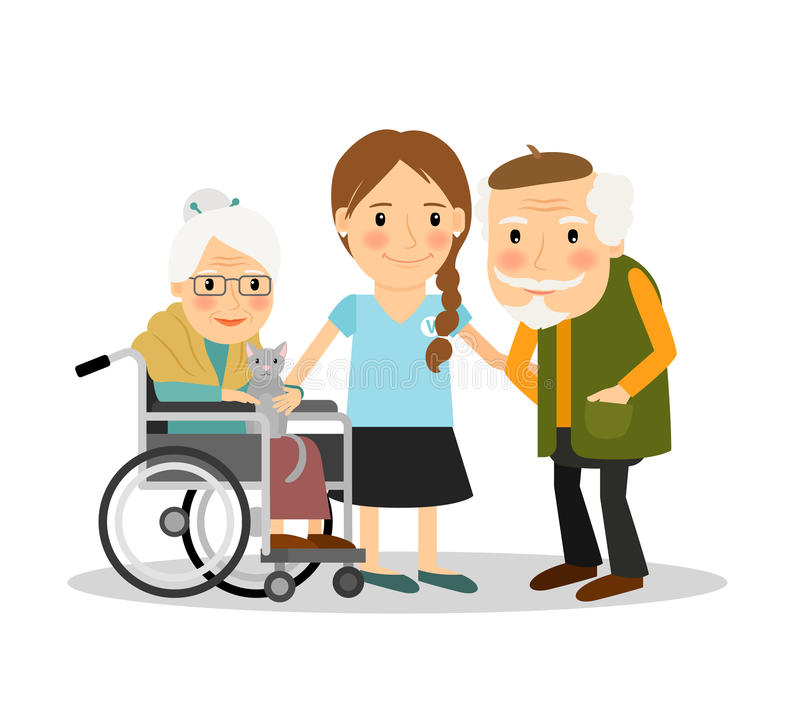 Caring for elderly patients stock illustration