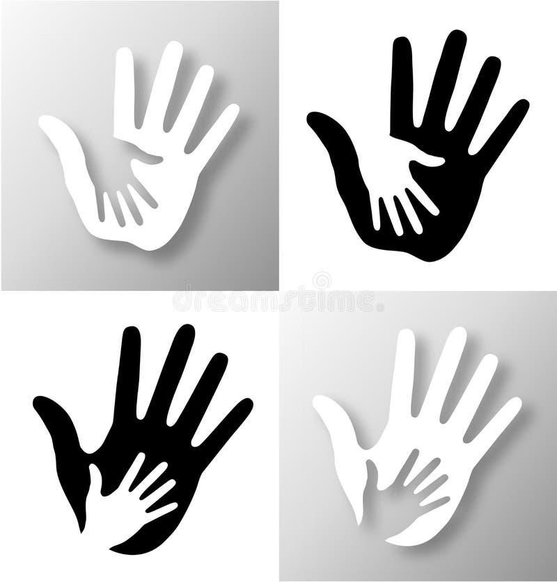 Caring hand applique. Vector illustration royalty free illustration