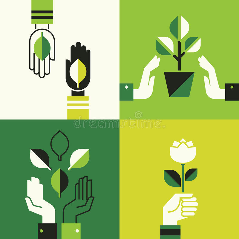 Caring hands holding leaves vector illustration