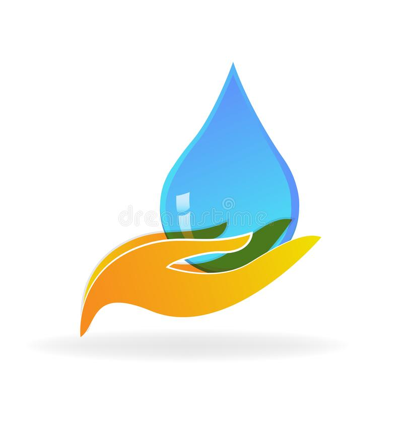 Caring hands and water drop icon. Vector illustration royalty free illustration