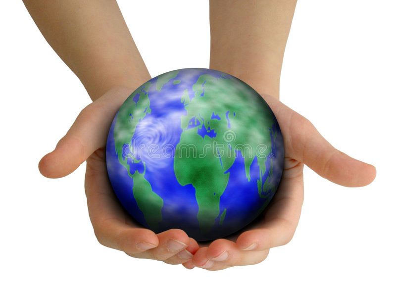 Caring for the planet. Child's hands holding Earth: caring for the planet