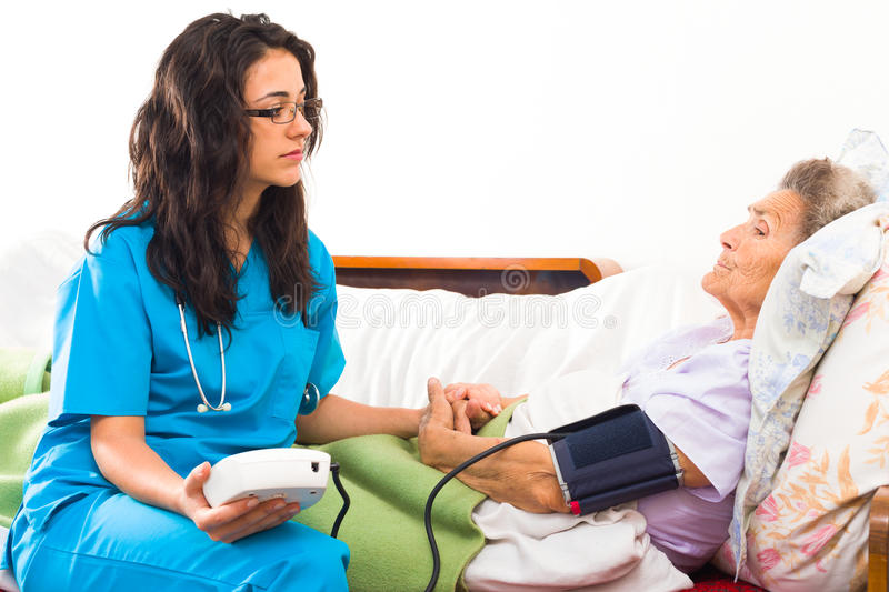 Caring for Senior Patient stock image