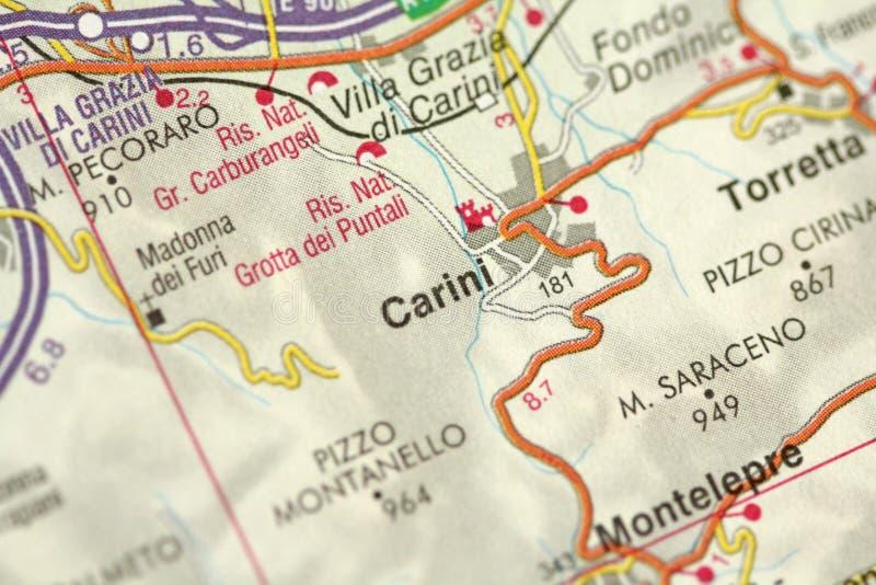 Carini χάρτης Τα νησιά της Σικελίας, Ιταλία στοκ φωτογραφία