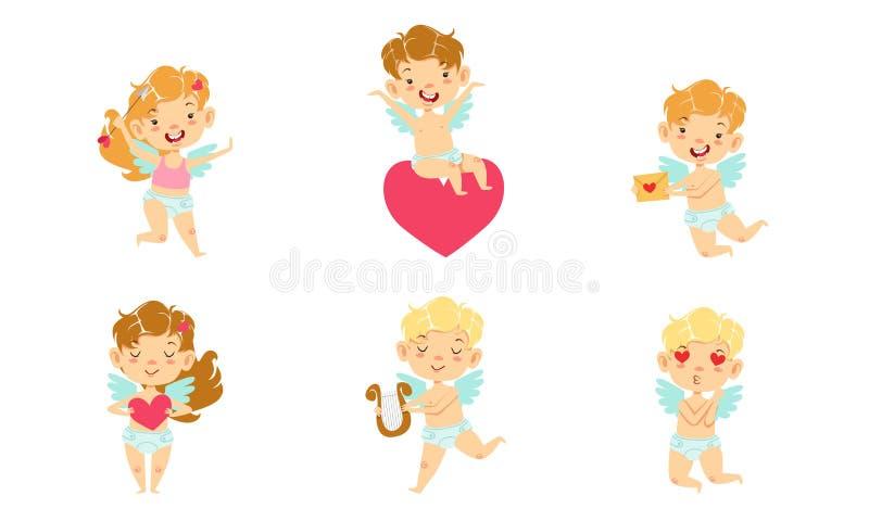 Carini Baby Angels con Wings Set, Happy Adorable Boys and Girls Cupids Cartoon Caratteri Vector Illustrazione illustrazione vettoriale