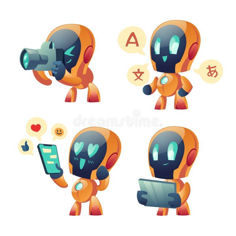 Carino vignetta di robot chat, robot di conversazione illustrazione di stock