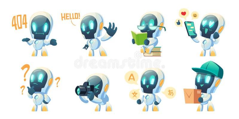 Carino vignetta di robot chat, robot di conversazione royalty illustrazione gratis