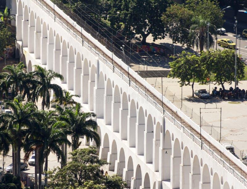 Carioca渡槽在里约热内卢 叫作Lapa曲拱 免版税库存图片