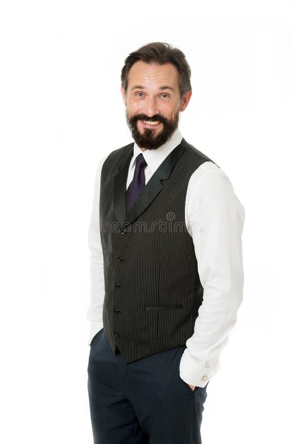 Carisma como llave al éxito Cara alegre del hombre de negocios Manos formales clásicas del control del traje del hombre de negoci imágenes de archivo libres de regalías