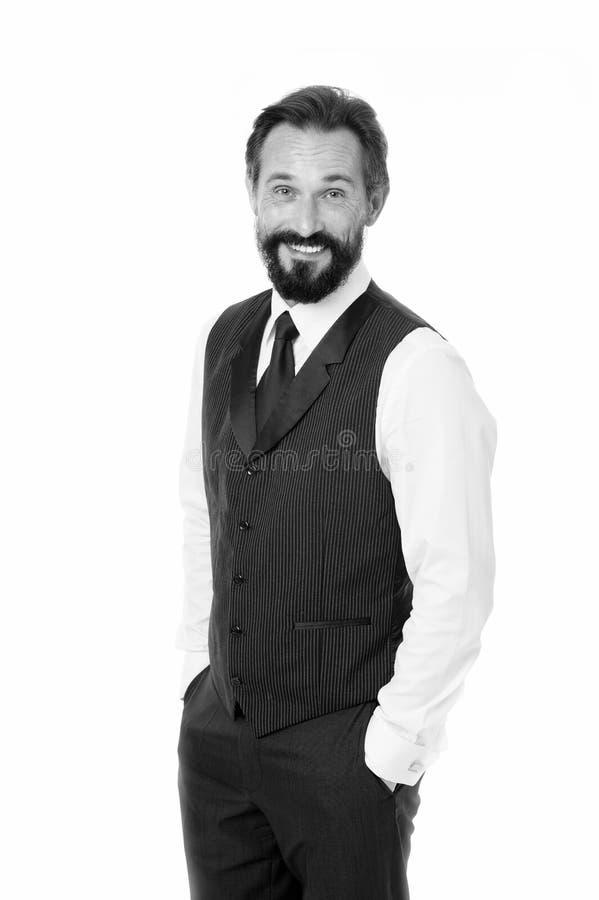 Carisma como llave al éxito Cara alegre del hombre de negocios Manos formales clásicas del control del traje del hombre de negoci imagen de archivo
