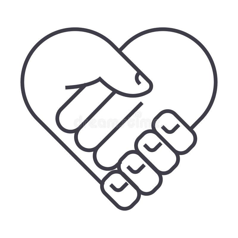 Carità, testa di sostegno, forma del cuore, linea icona, segno, illustrazione di vettore della medicina su fondo, colpi editabili royalty illustrazione gratis