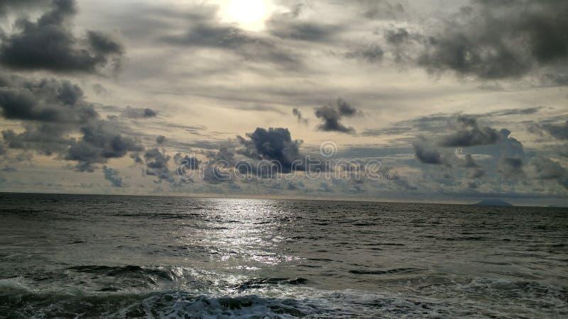Carita beach, banten. When the sun almost fall down at the horizon royalty free stock image