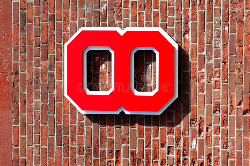 Carl Yastrzemski retired number. The retired number of Boston Red Sox Hall of Famer hangs outside Fenway Park, Boston, MA stock photo