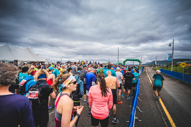 Runners Waiting at the Starting Line. CARLETON, CANADA - June 4, 2017. During the 5th Marathon of Carleton in Quebec, Canada. Runners Waiting at the Starting royalty free stock images