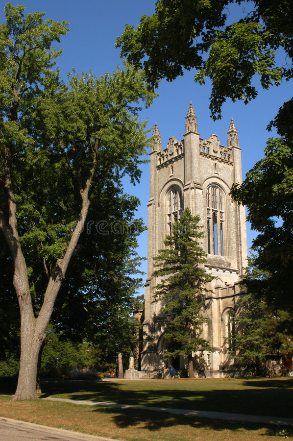 Carleton College chapel. The chapel at Carleton College in Northfield, Minnesota, on a sunny morning royalty free stock image