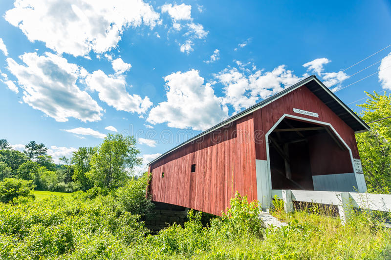 Carleton Covered Bridge. The Carleton Bridge is a historic wooden covered bridge that carries Carleton Road over the South Branch Ashuelot River in East Swanzey stock photo