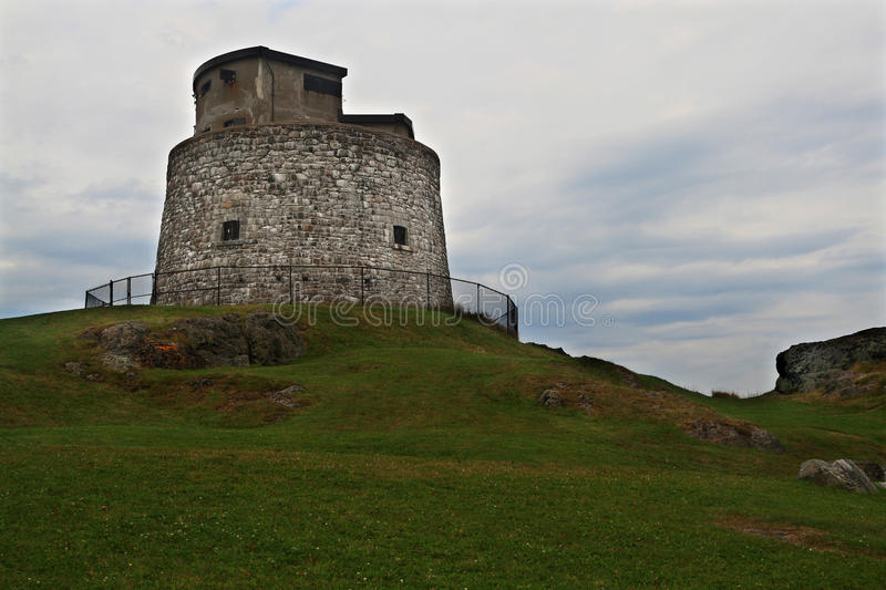 Carleton Martello Tower in Cloudy Day. Carleton Martello Tower National Historic Site of Canada in cloudy day, Constructed 1813-15 and 1941 as military royalty free stock image