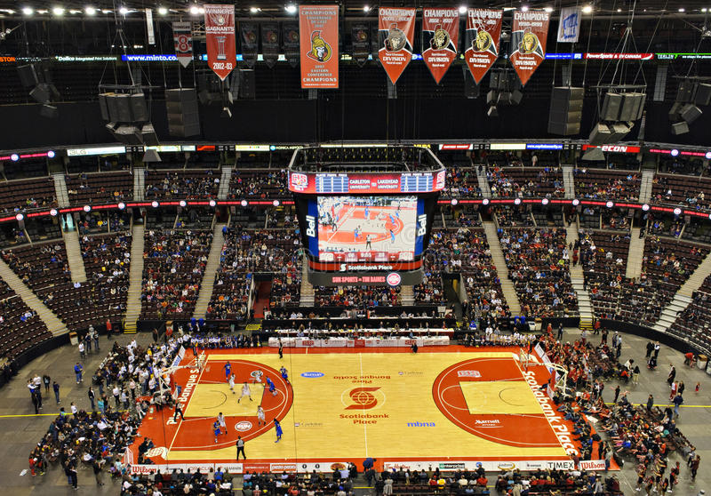 Scotiabank Place. The Carleton Ravens and the Lakehead Thunderwolves compete in the final of the CIS Men's Basketball Final at Scotiabank Place, Ottawa on March stock image