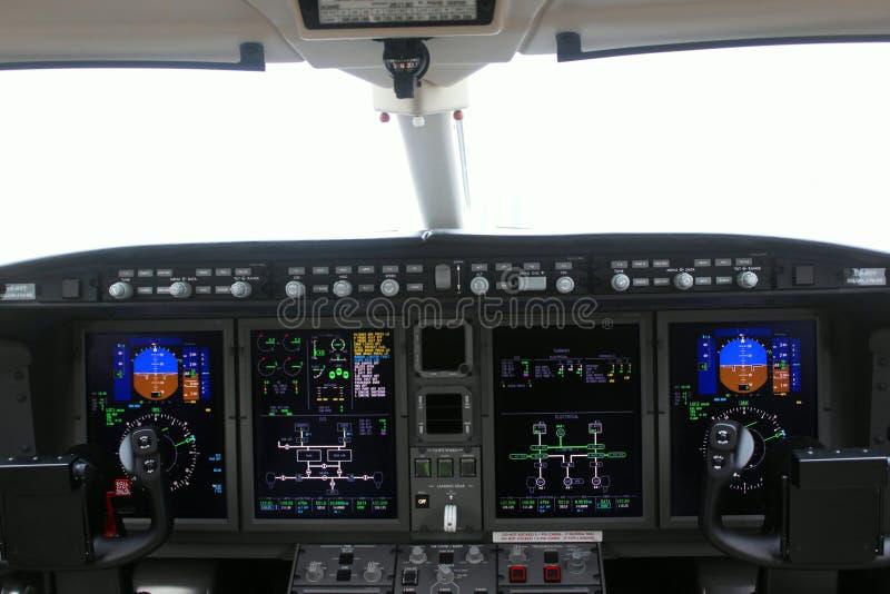 Carlinga de un aeroplano y de un tablero foto de archivo
