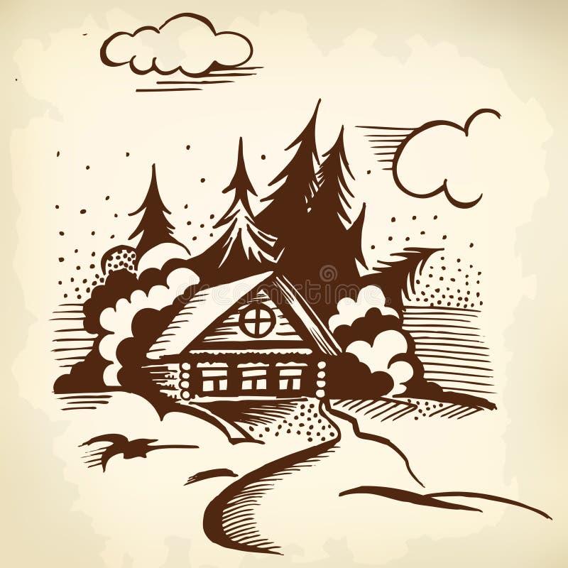 Carlingue dans les bois illustration de vecteur