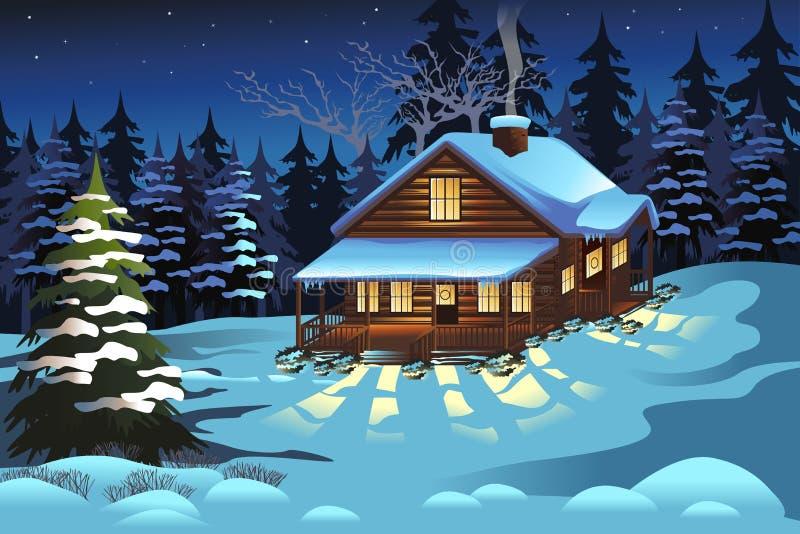 Carlingue dans les bois pendant la saison d'hiver illustration libre de droits