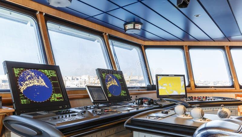 Carlingue du ` s de capitaine sur le bateau photos stock