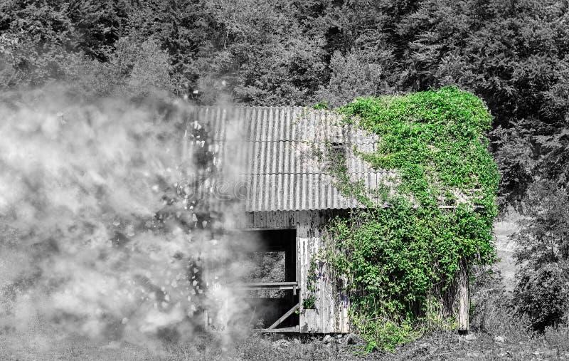 Carlingue en bois abandonnée se désagrégeant illustration de vecteur