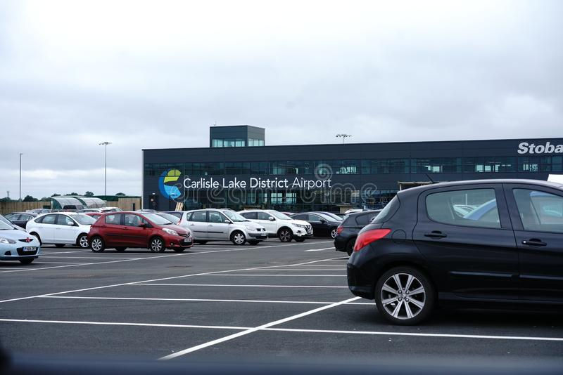 Carlisle Airport terminal building. Carlisle airport near Carlisle, in the Lake District, Cumbria, England, and close to the border with Scotland. Newly opened royalty free stock image