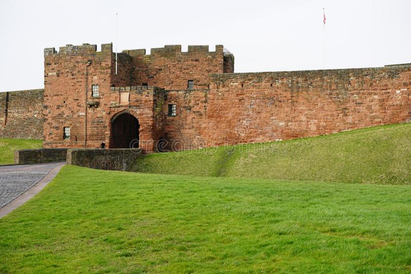 CARLISLE CASTLE KEEP. Carlisle Castle is situated in Carlisle, in the English county of Cumbria, near the ruins of Hadrian`s Wall. The castle is over 900 years royalty free stock photo
