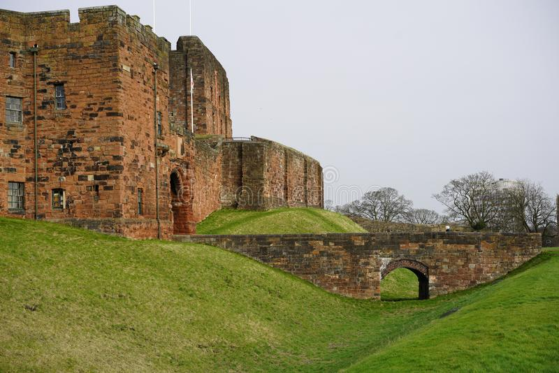 CARLISLE CASTLE KEEP. Carlisle Castle is situated in Carlisle, in the English county of Cumbria, near the ruins of Hadrian`s Wall. The castle is over 900 years royalty free stock image